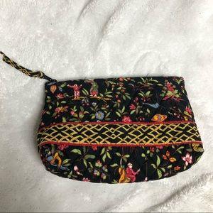 Vera Bradley Cosmetic Bag Black Floral Liner FLAW
